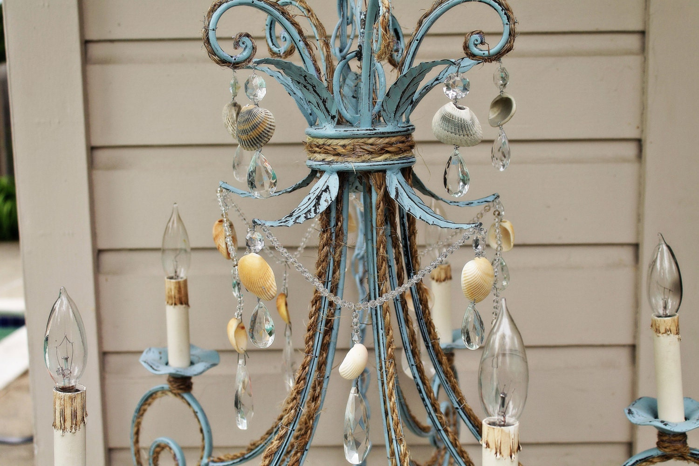 Shabby Chic Coastal Blue Seashell Chandelier