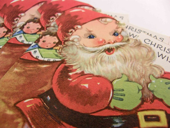 ON HOLD for Mosaicmyworld - As Gay As An Elf - Fourteen 1940s Gibson SANTA Christmas / Holiday Greeting Cards