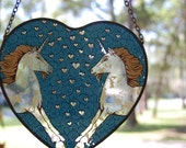 Unicorn Wall Hanging 70s / 80s/  Blue / Hearts / Glass