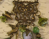 """Vintage Inspired Necklace and Earrings, """"Songbird"""", birds, flowers, vintage, charm necklace, earthy colors, unique"""