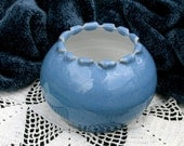 Blue Bowl with White Lining  Hand Thrown Ceramic Pottery