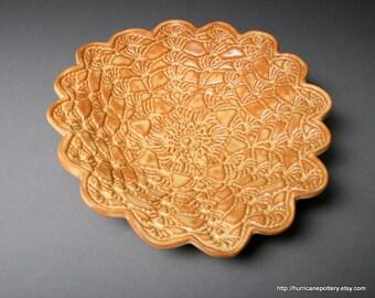 Ceramic Candy Dish. Fall Table Decor. Handmade. Vintage Crochet Doily Design. Fall Home Decor. Honey Gold Dish