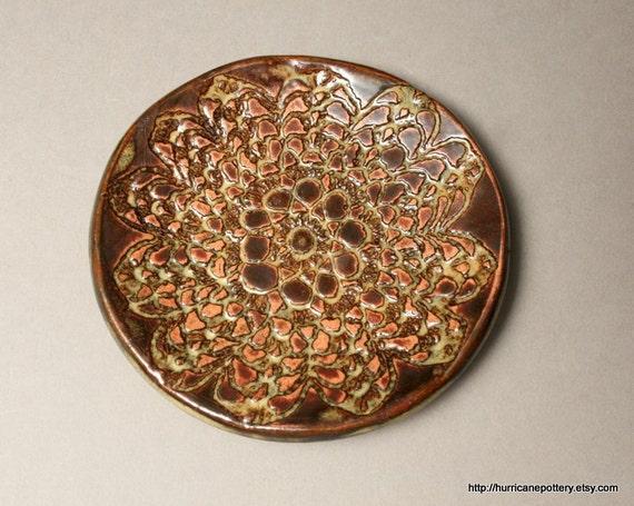 Tea Bag Holder / Spoon Rest Floral Earthtones