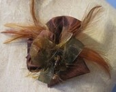 Jewelry, Brooch, Bronze Silk, Feather and Fibers, Mothers Day Gift