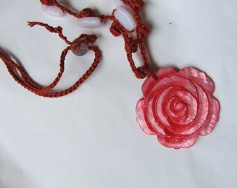 Necklace, Coral Color,   Floral pendant, Long Drop Necklace, Carved Shell Flower Pendant, Jewelry Gift,  Female Birthday Gift