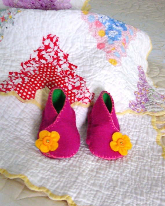 Baby Shoes, 0-3 months,  Baby Booties, Pink Felt booties, Baby Cross over style, Keepsake Poem, Baby Gift, Baby Shower Gift, Infant Bootie