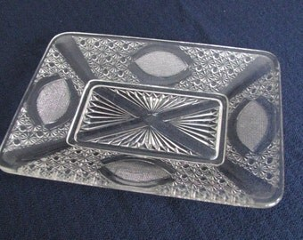 Antique pressed glass serving dish