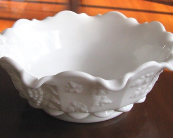 Milk glass bowl with grapevine decorations