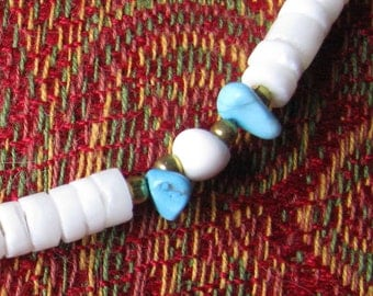White bead and turquoise stone necklace