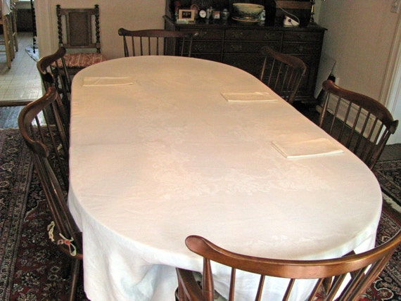 Antique white damask tablecloth and napkins, REDUCED