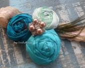 Walking in Paradise Headband Silk Rossette Cluster in the colors of the Sea
