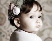 Baby Girl Headbands, Baby Flower Headband, Newborn Headband, Silk Flower Rosette, Pink, White and Grey Puff, Feathers Vintage LUXE