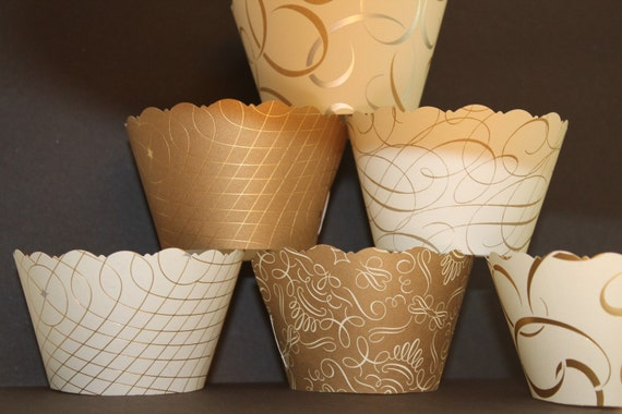 Gold and Silver Wedding Cupcake  Wrappers    Wedddings, showers,anniversaries