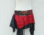 Tattered Red & Black Skirt