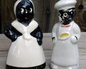 Vintage 50s Black Americana Cook & Chef China Salt Pepper Shakers