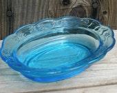 Vintage Blue Oval Pressed Glass Soap Dish