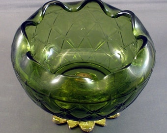Molded Green Glass Bowl with Metal Base