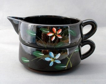 Vintage Hand Painted Pottery Stacking Sugar and Creamer