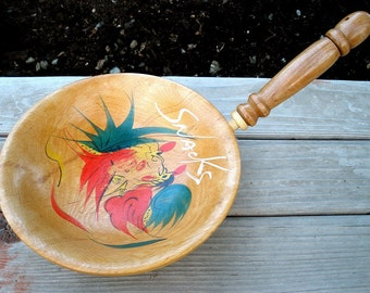 Vintage Wood Fighting Roosters Snack Bowl with Handle