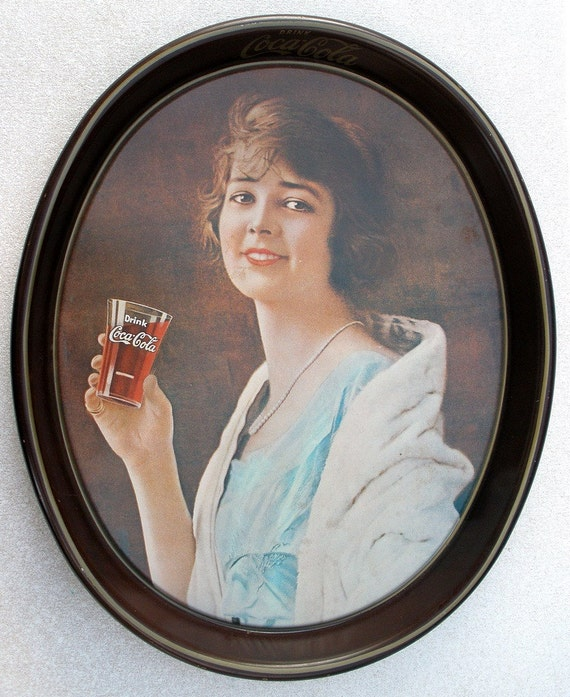 Vintage 1920s Coca Cola Flapper Girl 1973 Reproduction Serving Tray
