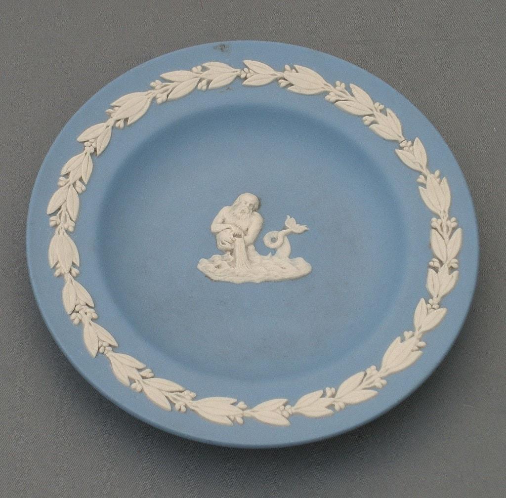 Vintage Wedgwood Blue Jasperware Miniature Plate Ring Dish