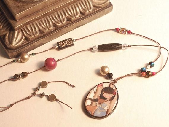 OOAK Beaded Necklace With Woodland Girl Art Pendant