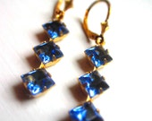 Blue Topaz Diamond Trio Crystal Earrings