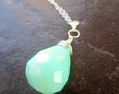 Teardrop Aqua Peruvian Opal Necklace