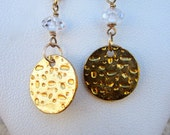 Hammered Gold Discs and Sparkly Cubic Zirconia Dangle Earrings