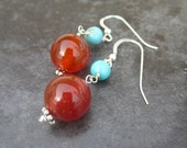 Lovely Carnelian and Turquoise Gemstone Earrings