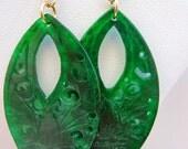 Lovely Hand Carved Jade Gemstone Earrings