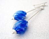 ON RESERVATION - Long Blue Drop Dangle Earrings, Long Sterling Silver Dangle Earrings, Vintage Handmade Sapphire Blue Glass Beads