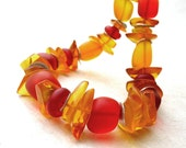 Genuine Vintage Amber Beaded Necklace, Sterling Silver, Red Orange Tangerine Yellow Beach Glass Nuggets