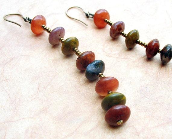 Extra Long Chain Dangle Earrings, Earthy Fall Fashion Colors, Petrified Wood, Seed Beads