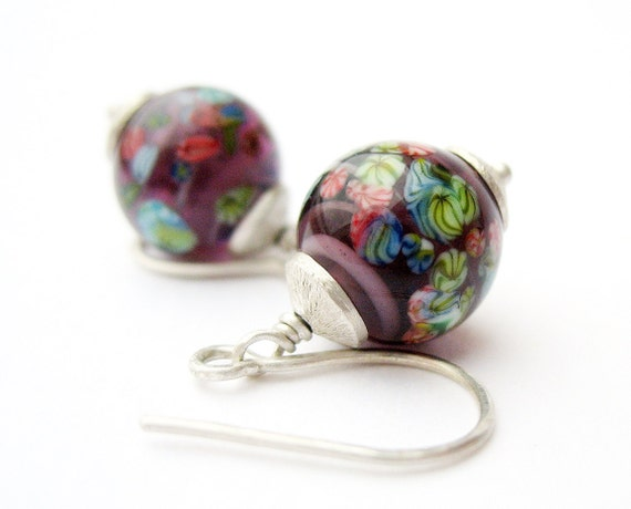 Dangle Earrings Purple Balls Scattered Flowers Sterling Silver Vintage Japanese Millefiori Round Beads OOAK one of a kind