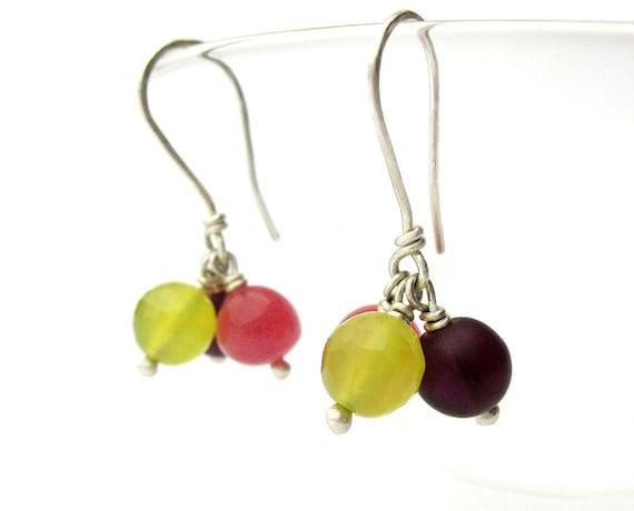 Small, Dainty Dangle Earrings - Berries Earrings in Amethyst, Pink, Lime Green, Sterling Silver