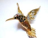 Vintage Rhinestone Flying Hummingbird Brooch