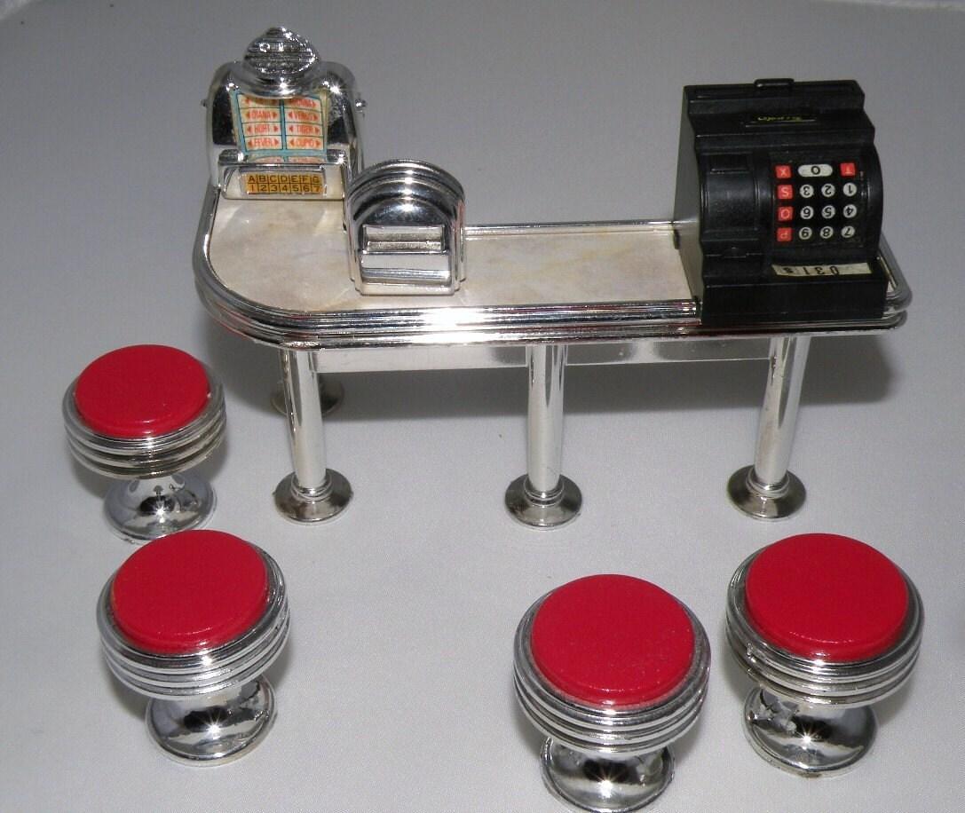 Tyco Toys 1988 Dixies Diner Miniature Table Jute Box Cash