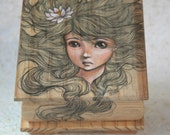 Jewelry Box 1 - Wooden Box with beautiful Pencil and Acrylics Illustration - Free Shipping