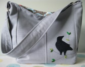 Nevermore - Slouchy Canvas hobo purse