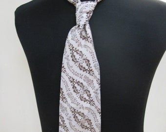 Brown and Fawn Flower Patterned Tie - 1970's
