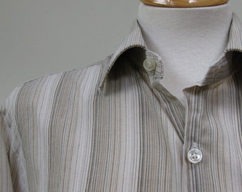 Light Brown Striped 1970s Vintage Men's Shirt