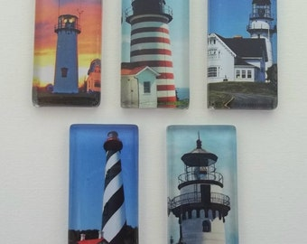 Lighthouse Beautiful Domino Size Glass Magnet Set--Magnets