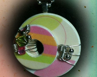 Wire Wrapped  Washer Pendant Necklace--Circles and Stripes