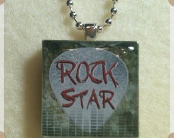 1 in. Wood Tile Pendant Necklace--Rock Star