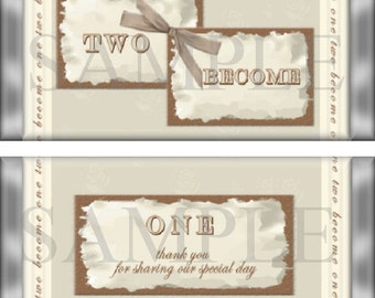 Two Become One Wedding Candy Bar Wrappers