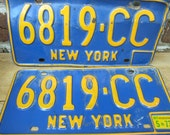 NY License Plates 1973 Rare Matching Pair with TAG Blue Orange New York State Vintage Dude
