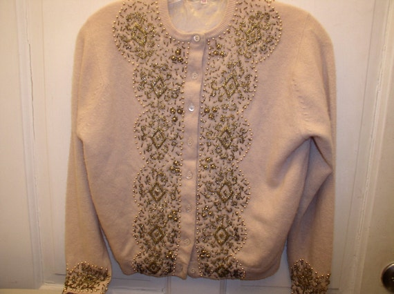 Vintage Cartigan 1960s Beige Beaded,S/M Wool Deluxe Gold Beads, Accessory, Retro, Hipster, Collect
