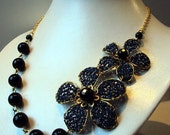 Blue and black with gold-necklace-crochet