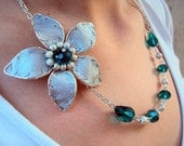 Silver flower- green crystals - one of a kind necklace